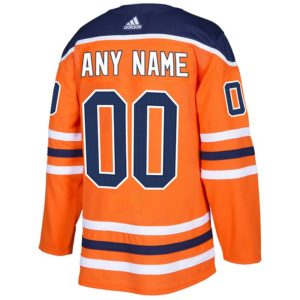 CUSTOM  Mens Edmonton Oilers Adidas Authentic Home Jersey with ON ICE Cresting