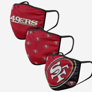 Adult NFL San Francisco 49ers 3 Pack Face Cover