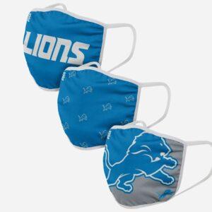 Adult NFL Detroit Lions 3 Pack Face Cover