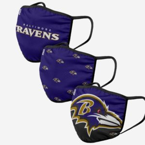Adult NFL Baltimore Ravens 3 Pack Face Cover